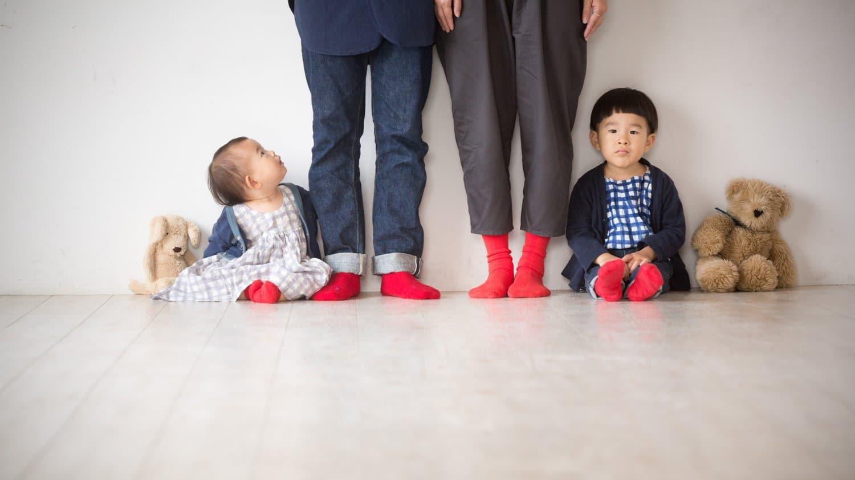 家族 靴下 赤 お揃い